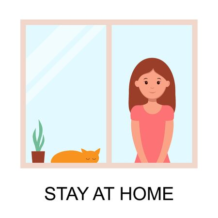 woman and cat stay at home to prevent from virus spreading, flu prevention, coronavirus, covid-19, social isolation and self quarantine concept, character cartoon flat vector illustration