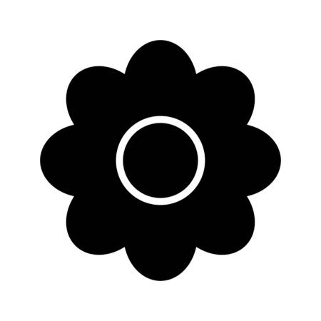 Chamomile flower flat vector black icon isolated on a white background. Daisy flower