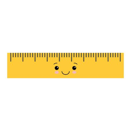 Cartoon cute school ruler isolated on white background for educational, school or office design. Kawaii style illustration