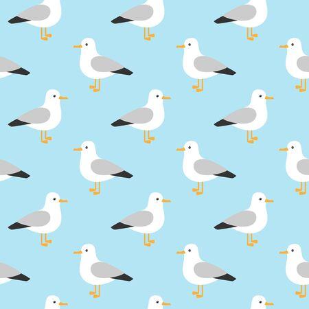Modern childish seamless pattern with seagulls in vector. Cute cartoon seagulls. Summer vacation. Good for print. Vektoros illusztráció