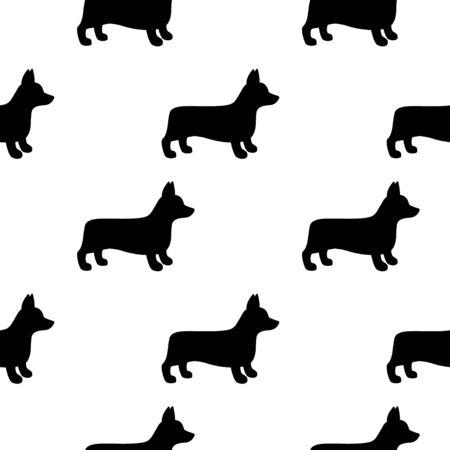 Cartoon corgi dog seamless pattern background. Abstract corgi dog pattern for card, wallpaper, album, scrapbook, holiday wrapping paper, textile fabric, garment, t-shirt design etc. vector illustration