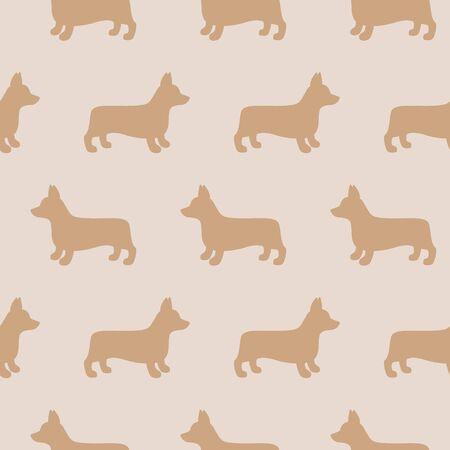 Cartoon welsh corgi dog seamless pattern background. Abstract corgi dog pattern for card, wallpaper, album, scrapbook, holiday wrapping paper, textile fabric, garment, t-shirt design etc. vector illustration