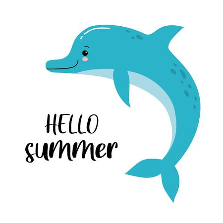 Cute cartoon dolphin. Vector illustration suitable for  invitations, brochures, flyers, coupons. Hello summer