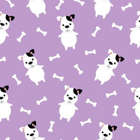 Cute Dog And Bone Vector Seamless Pattern. Kawaii cartoon style