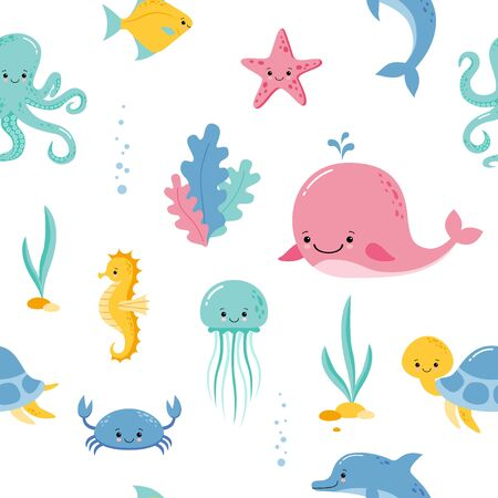Cute sea and ocean cartoon animals and fishes. Seamless pattern background with underwater funny kawaii characters. Vecteurs