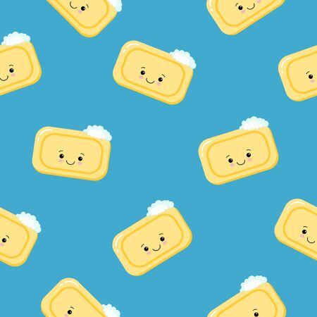 Seamless pattern pieces of solid yellow soap cute happy character. Color illustration on a blue background.