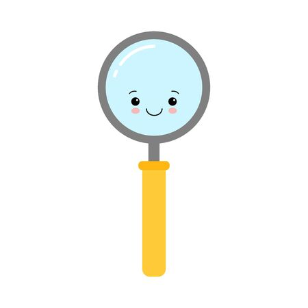 Happy magnifying glass, cute not found symbol, successful search, zoom, results found while searching.