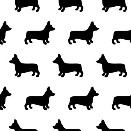 Cartoon corgi dog seamless pattern on white background. Abstract corgi dog pattern for card, wallpaper, album, scrapbook, holiday wrapping paper, textile fabric, garment, t-shirt design etc. vector illustration