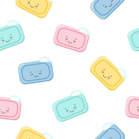 Seamless pattern pieces of solid soap cute happy sleeping character. Color illustration on a white background. Kawaii style illustration  イラスト・ベクター素材
