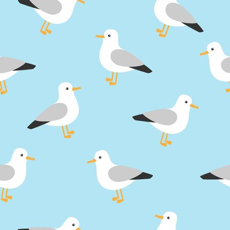 Marine pattern with cute seagull. Nautical pattern with seagull character. Stock Illustratie