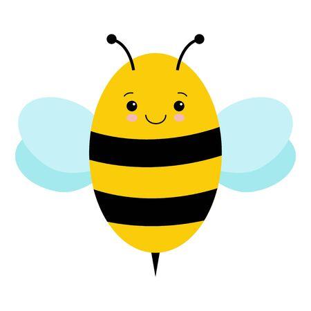 Vector Cute Cartoon Bee Isolated On White Background. Kawaii illustration 向量圖像