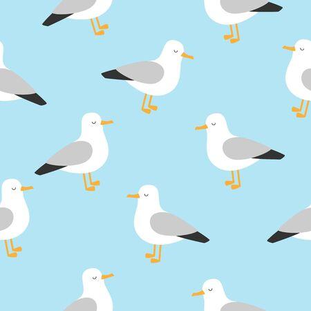 Funny seagull seamless pattern. Vector cute illustration. Stock Illustratie