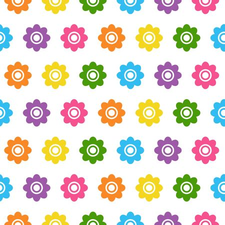 Seamless background with colorful flowers in flat design on white background Ilustração