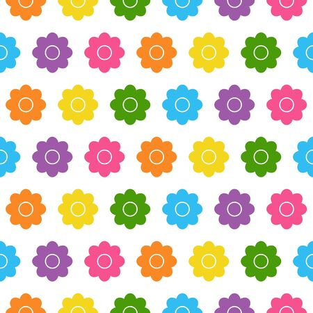Seamless background with colorful flowers in flat design on white background. daisy