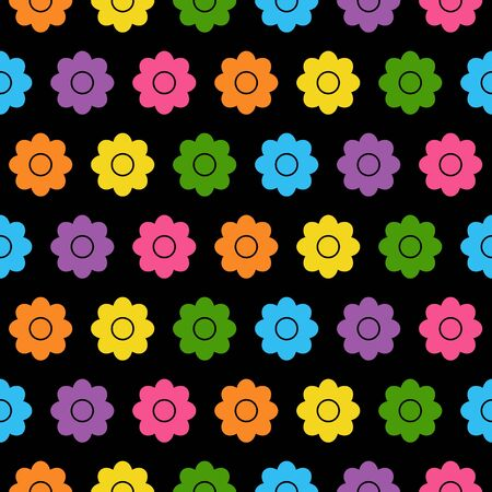 Seamless background with colorful flowers in flat design on black background. cartoon daisy