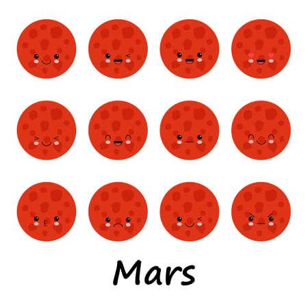 Set of cute mars smiley. Mars emoticons, flat emoji, kawaii style emotion. Cartoot illustration