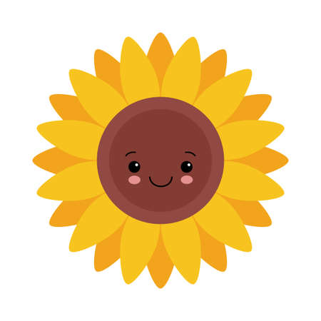 Sunflower isolated on white background cute cartoon character icon. kawaii vector illustration
