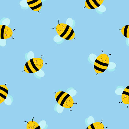 cute cartoon bee seamless pattern background 版權商用圖片 - 155050212