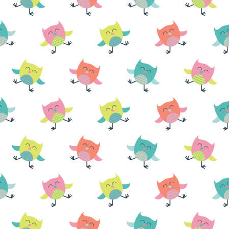 Seamless colourfull cute owl pattern for kids in vector 版權商用圖片 - 156252213