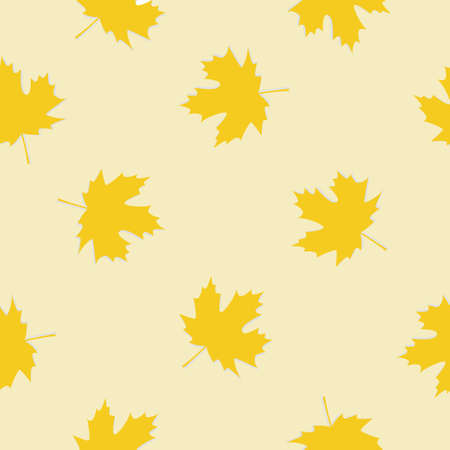 Vector seamless pattern with autumn leaves on a yellow background. 向量圖像