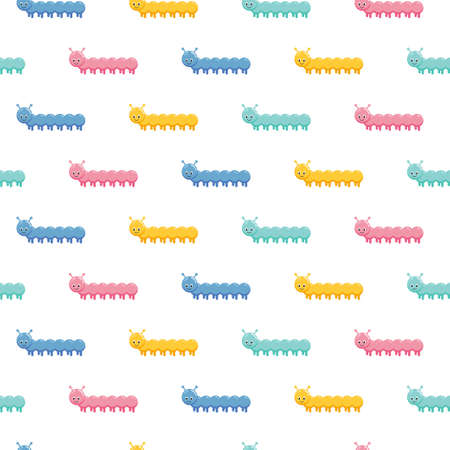Cartoon kids cartoon caterpillars seamless pattern. Cute children design template. Bright insects icons for textile, wrapping paper, greeting cards or posters for kindergarten 版權商用圖片 - 157157216
