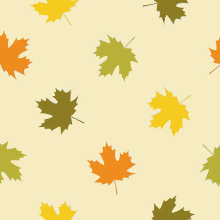 Seamless pattern with autumn maple leafs. Vector illustration