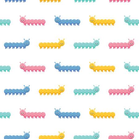 Seamless vector cute caterpillars pattern for kids. Cute children design template.