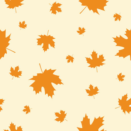 Seamless Pattern with Orange Autumn Maple Leaves. Vector Illustration. Autumn Design Collection, Backgrounds