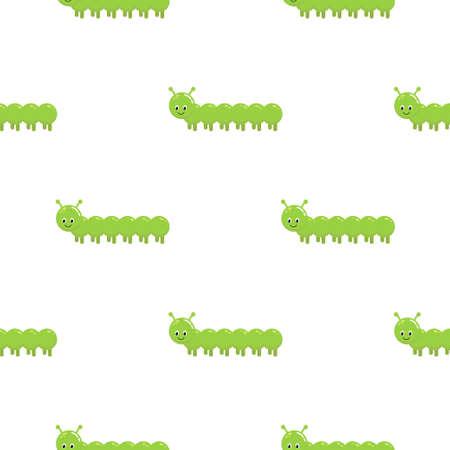 Cartoon kids cartoon caterpillars seamless pattern. Cute children design template.