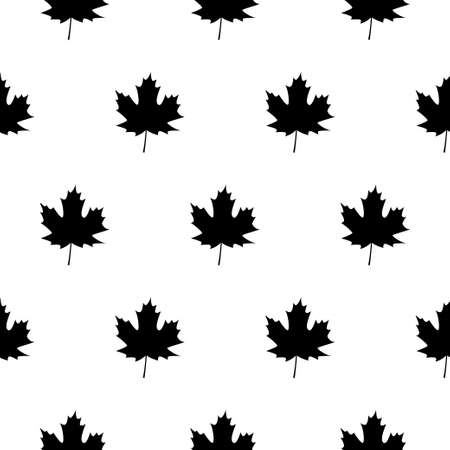 Maple leaves. Autumn background template with flying and falling leaves. Black silhouette. 向量圖像