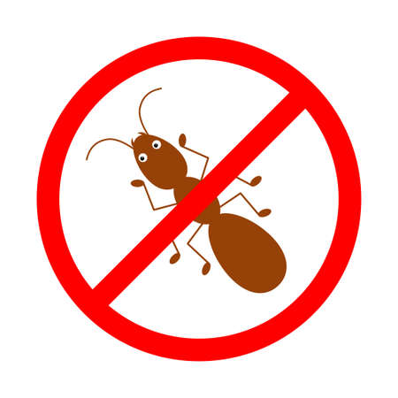 No ants ban sign, icon in prohibition red circle, forbidden symbol.