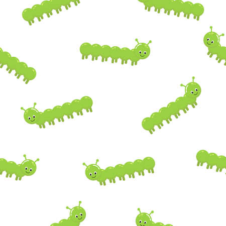Funny worms. Vector seamless pattern. Childish summer colorful background in simple cartoon style. Cute baby illustration of comic green caterpillars on a white background.