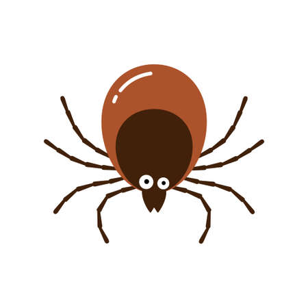 Tick from dog animal character cartoon vector illustration isolated