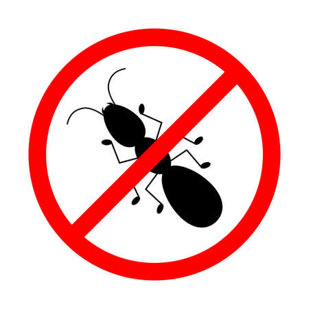 No ant with ban sign. Anti ant pest control ban, prohibition insects silhouette vector. 向量圖像