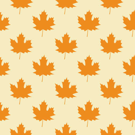 Seamless Pattern with Orange Autumn Maple Leaves. Vector Illustration. Autumn Design Collection, Backgrounds Flat style