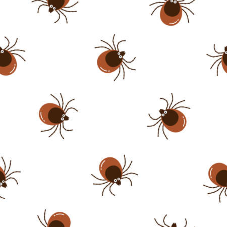 Seamless pattern cartoon brown tick insect icon isolated on white background. Mite bug drawn abstract print, vector flat design 向量圖像