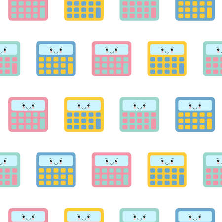 Little cute colorful calculator , seamless pattern on white background. 向量圖像