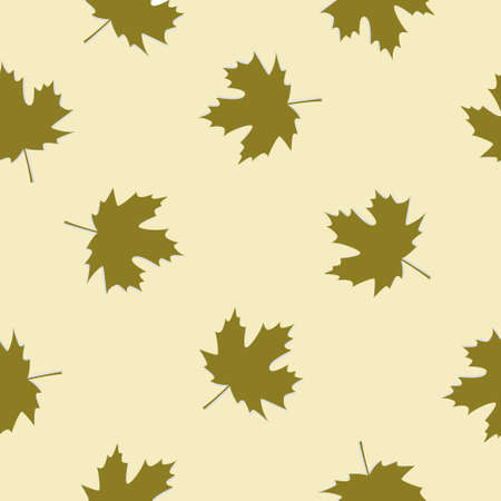 Seamless colorful background made of green maple leaves in flat design 向量圖像