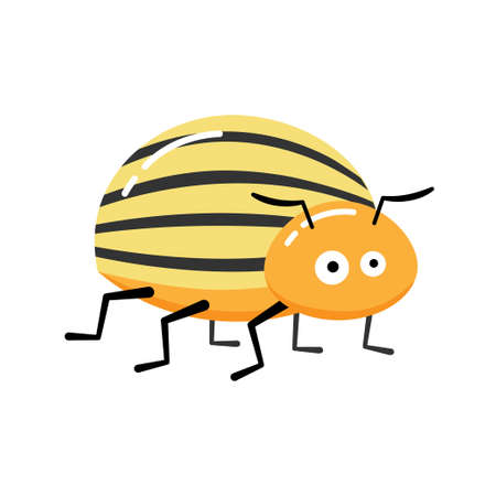 Cartoon Vector Illustration of Funny Colorado Potato Beetle Insect Character