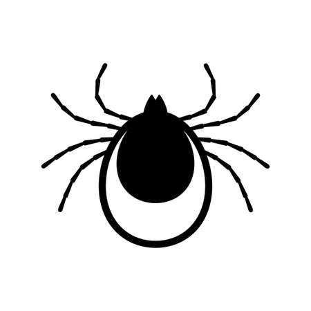 Tick icon vector. Mite sign isolated on white background. Encephalitis skin parasite silhouette.