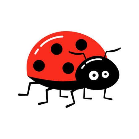 Cartoon ladybug vector illustration. Cute red ladybug isolated in a flat style. 向量圖像