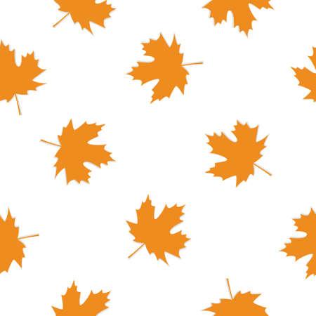 Autumn Set of Orange Maple Leaves on White Background, Vector Version