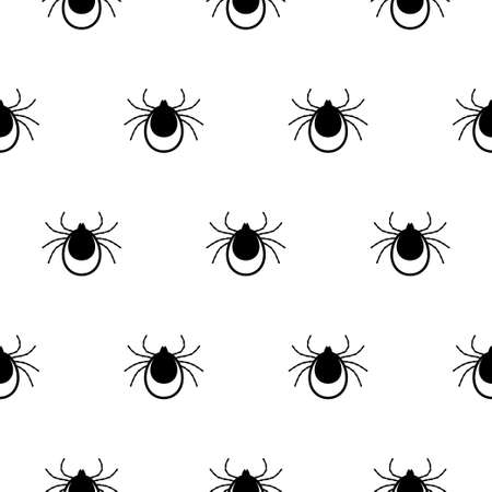 Seamless pattern with Tick. Mite. Vector illustration