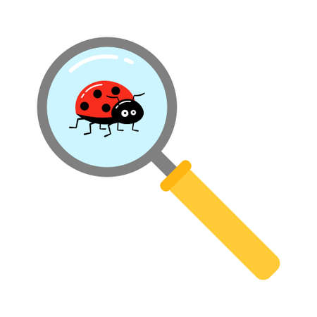 Magnifying glass with lady bugs over white background