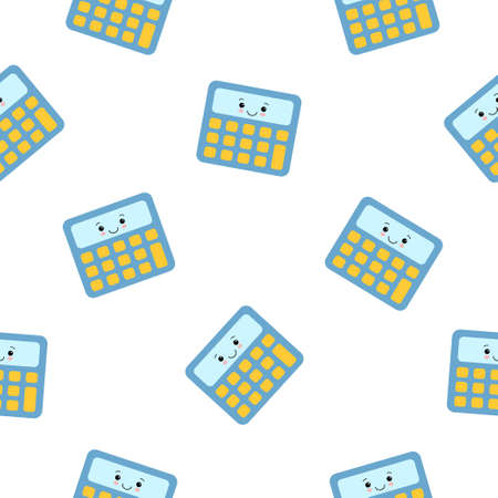 Little cute colorful calculator , seamless pattern on white background. Kawaii cartoon character