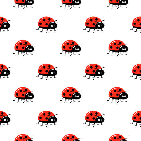 Seamless vector pattern with insects, background with bright ladybugs Ilustração