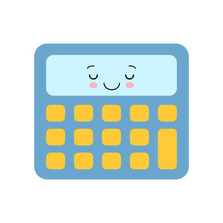 Cute calculator kawaii character isolated icon vector cartoon illustration design 向量圖像