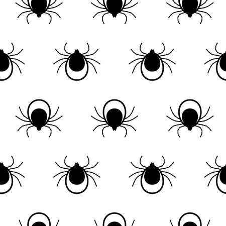 Seamless pattern with Tick. Mite. white background Vector illustration