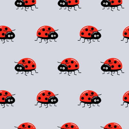 Seamless background with ladybug on gray. Simple pattern. Vector illustration.