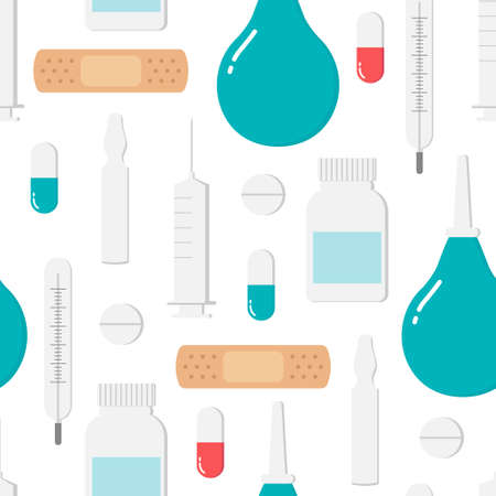 Seamless endless pattern with icons for medicine and health on turquoise background. Colorful medic icons - syringe, bottle, tablet, Capsule